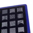 A018 Stainless Steel DIY Nail Polish Art Stamp Plate Set - Silver + Blue