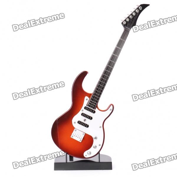 Electric Guitar Shaped Musical Toy with Stand (2*AA) mini handheld 17 6 string electric guitar toy random color 2 aa