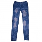 Sexy Women Jeans Stretchy Skinny Leggings Pants - Blue (Free Size)