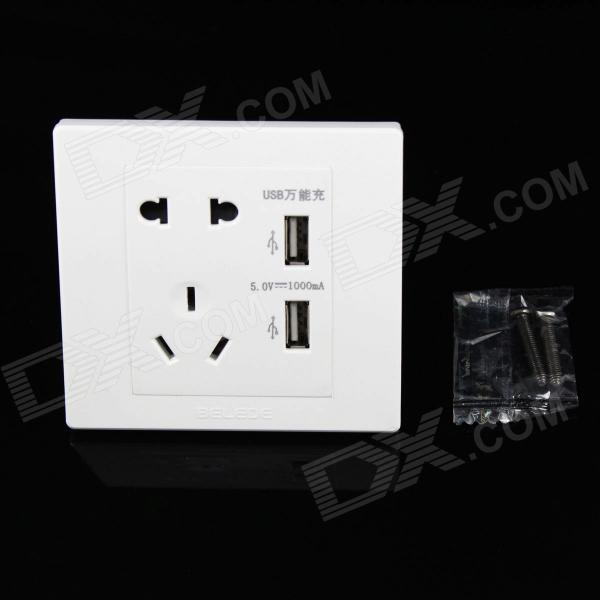 86mm Universal 2-Power Socket Wall Mount Plate w/ Dual-USB - White (90~250V) white square wall mounted three phase four wire outlet socket plate 380vac 25a