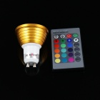 KINFIRE LED  GU10 3W 200lm RGB Spotlight w/ Remote Controller - Golden (85~265V)
