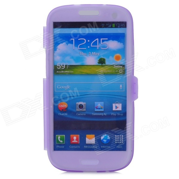 Protective Silicone Flip-open Case for Samsung i9300 - Translucent Purple protective silicone case for nds lite translucent white