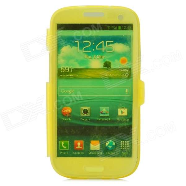 Stylish Protective Silicone Case for Samsung i9300 - Translucent Yellow protective silicone case for nds lite translucent white