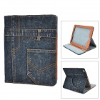 Protective Flip-open Jeans + PU Holder Case for IPAD 3 / 4 - Ash Black