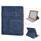 Protective Jeans + PU Holder Case for IPAD 3 / 4 - Deep Blue