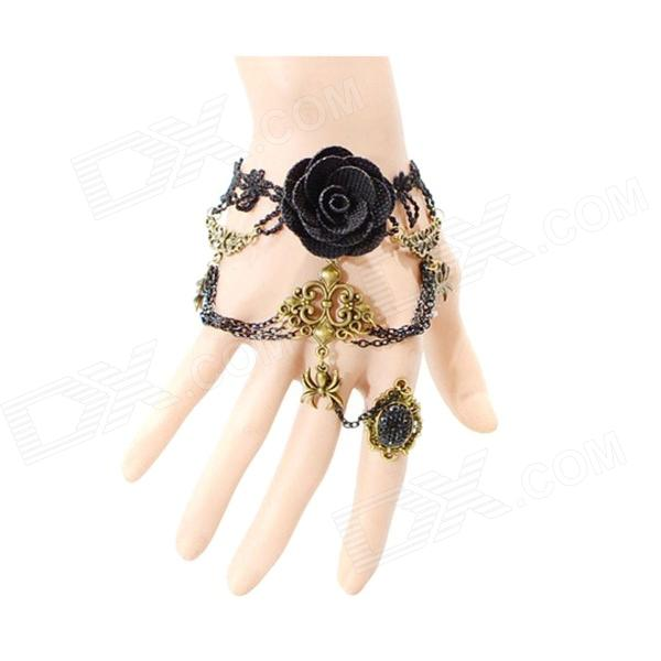 Euramerican Fashionable Vintage Palace Style Lace Bracelet - Black + Multicolored