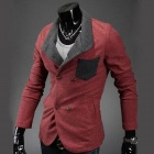X12  Men's Knitted Material Cotton Color Matching Slim Fit Double-Breasted Suit - Red (Size L)