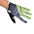 Handskin Silica Gel Bicycle Full-finger Gloves - Green + Grey + Black (Size L)