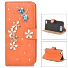PUDINI WB-14015G Rhinestone Dragonfly Style PU Leather Case Cover Stand for IPHONE 5 - Saffron