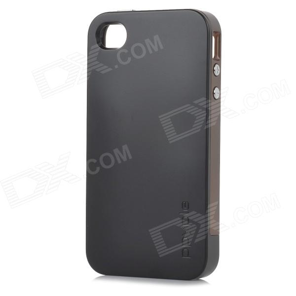 Ppyple ACS + Power Saving / Performance RF PC + TPE Back Case pour IPHONE 4 / 4 s - noir + café