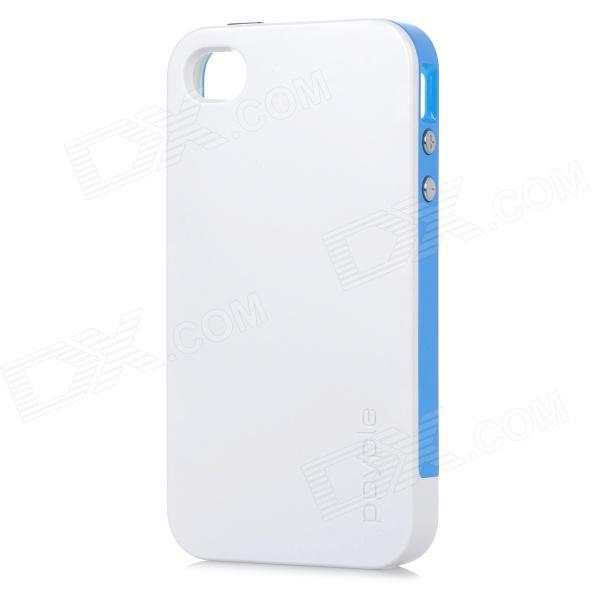 Ppyple ACS+ Power Saving / RF Performance up PC + TPE Back Case for IPHONE 4 / 4S - White + Blue ppyple ac2 case w signal enhancement power saving ic card holder for iphone 4 4s light blue