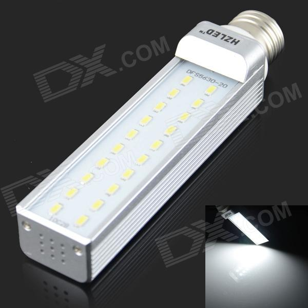 HZLED E27 10W 1000LM 6000K 20-SMD 5630 LED White Light Bulb - White + Silver (AC 85-265V) lexing lx r7s 2 5w 410lm 7000k 12 5730 smd white light project lamp beige silver ac 85 265v