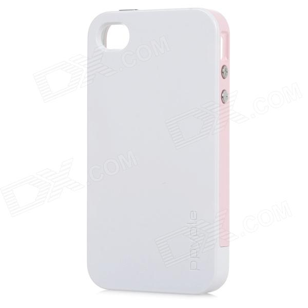 Ppyple ACS+ Power Saving / RF Performance up PC + TPE Back Case for IPHONE 4 / 4S -White +Light Pink ppyple ac2 case w signal enhancement power saving ic card holder for iphone 4 4s light blue