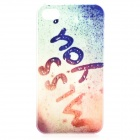 "S-what ""Miss You"" Style Protective Plastic Back Case for IPHONE 4 / 4S - Blue + Multicolor"