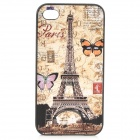 S-what Eiffel Tower Style Protective Plastic Back Case for IPHONE 4 / 4S - Yellow + Multicolor