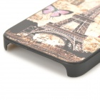 S-ce que l'affaire Tour Eiffel style de protection en plastique pour iPhone 4 / 4S - Jaune + multicolore