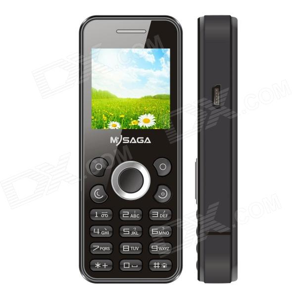 MYSAGA D2 GSM Bar Phone w/ 1.44 Screen, Quad-band, FM and Dual cards Dual standby - Black c10 ear hook gsm phone w 0 7 screen dual band bluetooth v3 0 and fm red black