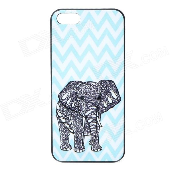 S-what Elephant Style Protective Plastic Back Case for IPHONE 5 / 5S - Blue + Black + White water drops style protective plastic back case for iphone 4 blue