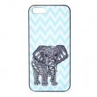 S-what Elephant Style Protective Plastic Back Case for IPHONE 5 / 5S - Blue + Black + White