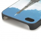 S-what Eiffel Tower Style Protective Plastic Back Case for IPHONE 4 / 4S - Blue + White + Multicolor