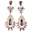 ER-7213 Elegant Zinc Alloy Hollow Out Style Earrings for Women - Purple + Golden (Pair)