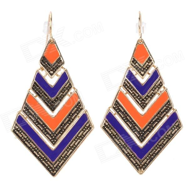 ER-3834 Bohemian Style Rhombus Shaped Zinc Alloy Earrings for Women - Blue + Orange (Pair) fashionable flower shaped zinc alloy earrings for women golden black multi colored pair