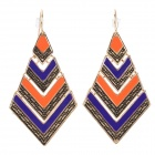 ER-3834 Bohemian Style Rhombus Shaped Zinc Alloy Earrings for Women - Blue + Orange (Pair)