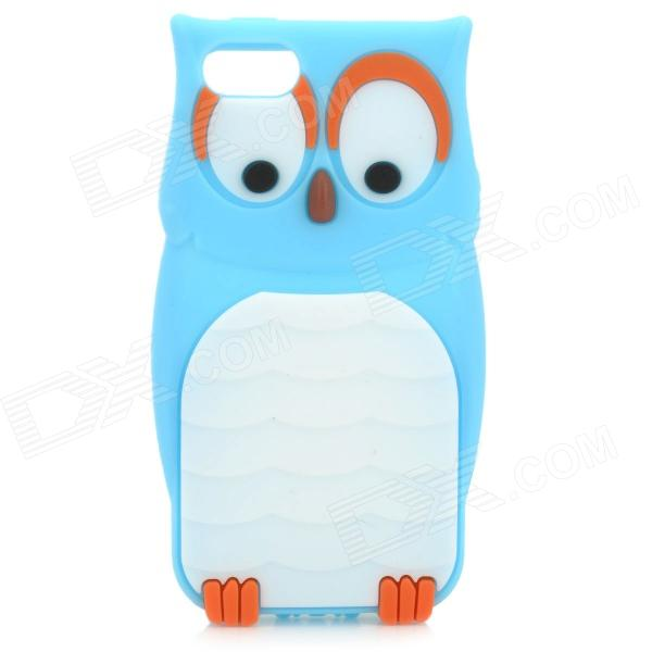 Cute Owl Style Protective Silicone Back Case for IPHONE 5 - Blue cute marshmallow style silicone back case for iphone 5 5s yellow white