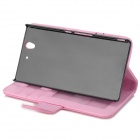 Protective Flip-open PU Leather Case w/ Stylus for Sony Xperia Z / L36h / C6603 - Light Pink + Black