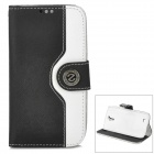 Protective Flip Open PU Case w/ Strap / Card Slots for Samsung S4 i9500 - White + Black