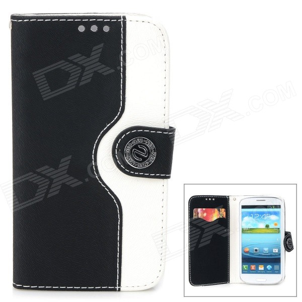 Protective PU Leather Case for Samsung Galaxy S3 i9300 - Black + White