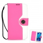Protective Flip Open PU Case w/ Strap / Card Slots for Samsung S4 i9500 - White + Pink
