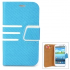 Diagonal Stripes Style Protective PU Leather Case for Samsung Galaxy S3 i9300 - Blue + White