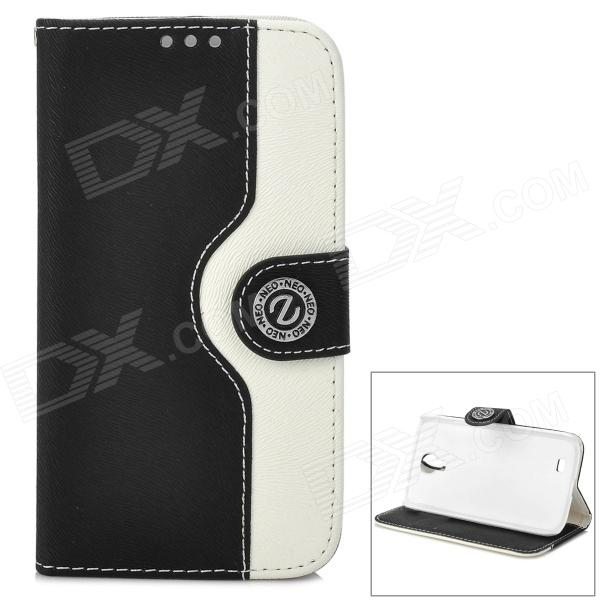 все цены на  Stylish Protective PU Leather Case for Samsung Galaxy S4 i9500 - Black + White  онлайн