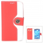 Protective Flip Open PU Case w/ Strap / Card Slots for Samsung S4 i9500 - White + Red