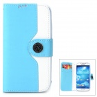 Protective Flip Open PU Case w/ Strap / Card Slots for Samsung S4 i9500 - White + Sky Blue