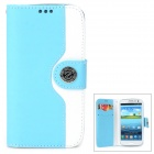 Mouse Grain Style Protective PU Leather Case for Samsung Galaxy S3 i9300 - Light Blue + White