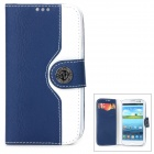 Mouse Grain Style Protective PU Leather Case for Samsung Galaxy S3 i9300 - Dark Blue + White