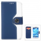 Protective Flip Open PU Case w/ Strap / Card Slots for Samsung S4 i9500 - White + Deep Blue