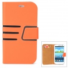 Diagonal Stripes Style Protective PU Leather Case for Samsung Galaxy S3 i9300 - Orange + Black