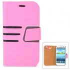 Diagonal Stripes Style Protective PU Leather Case for Samsung Galaxy S3 i9300 - Pink + Black