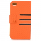 Diagonal Stripes Style Protective PU Leather + Plastic Case for IPHONE 4 / 4S - Orange + Black