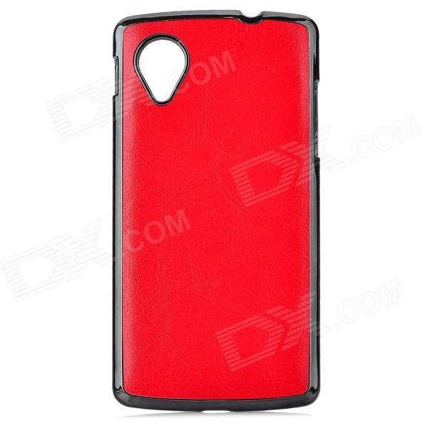 Protective PU Leather + ABS Case for LG Nexus 5 - Red + Black protective silicone back case for lg nexus 5 red