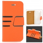 Diagonal Stripes Style Protective PU Leather + Plastic Case for IPHONE 5 / 5S - Orange + Black