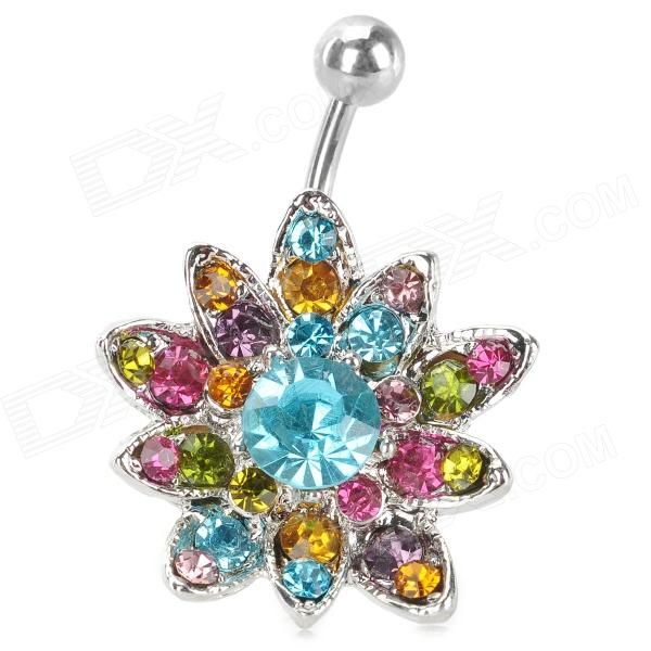 UBE UTY 7045 Fashion Sunflower Style Body Jewelry Navel Ring - Silver + Blue + Multi-Colored fashion birds style double refers zinc alloy open ring silver