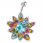 UBE UTY 7045 Fashion Sunflower Style Body Jewelry Navel Ring - Silver + Blue + Multi-Colored