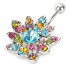 UBE UTY 7045 Fashion Sunflower stil Body Smykker Navel Ring-Silver + blå + Multi-farget