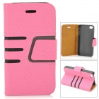 Diagonal Stripes Style Protective PU Leather + Plastic Case for IPHONE 4 / 4S - Pink + Black