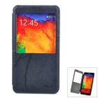 Protective Flip Open PU Case w/ Display Window for Samsung Note 3 - Deep Blue