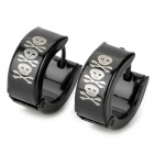 SHIYING G4DB271F8A3B25 Skull Head Pattern 316L Stainless Steel Earrings for Men - Black (Pair)